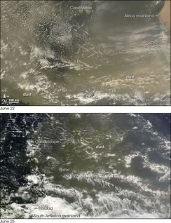 Images showing Saharan dust crossing the Atlantic