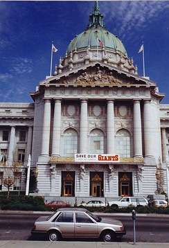 "A ""Save Our Giants"" banner hanging from San Francisco City Hall"