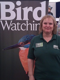 Former editor Sheena Harvey at a birdwatchers' fair at Middleton Hall on 21 May 2011