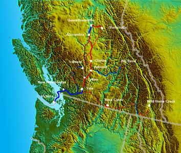 Route of the Cariboo Road in red. Steamboat travel in blue; dotted lines are alternate routes or routes to other goldfields