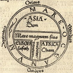 A medieval T and O map from 1472 showing the three continents as domains of the sons of Noah — Asia to Sem (Shem), Europe to Iafeth (Japheth), and Africa to Cham (Ham)