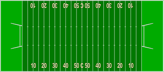 Diagram of a Canadian football field, wider and longer than the American field