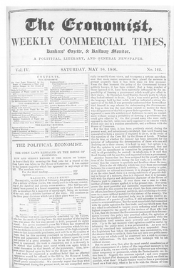 Front page of The Economist on 16 May 1846