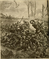 Facing obstructions on their way to closing the gap created by the gas attack, the Canadian 10th Battalion executed an impromptu bayonet charge at Kitcheners' Wood.