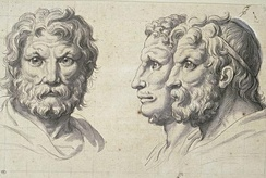 Three lion-like heads, Charles le Brun, France, pen and wash on squared paper, 1671