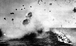 U.S. Navy ships under attack while entering Lingayen Gulf, January 1945