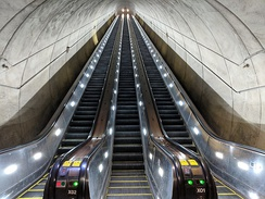 The longest escalators in the Western Hemisphere, at the Wheaton station, Washington DC Metro