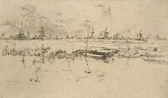 Zaandam, the Netherlands, c. 1889 - etching by James McNeill Whistler
