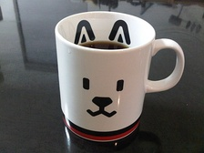"Merchandise drinking mug featuring ""Otosan"", the SoftBank mascot"