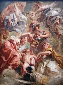 """England and Scotland with Minerva and Love"" Allegorical work of the Union of the Crowns by Peter Paul Rubens."