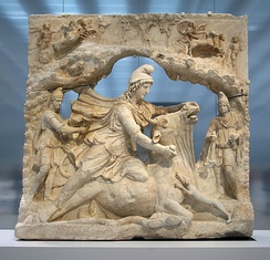 Marble relief of Mithras slaying the bull (2nd century, Louvre-Lens); Mithraism was among the most widespread mystery religions of the Roman Empire.[18]