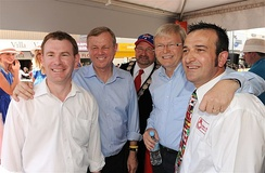 Labor MPs Nick Champion, Mike Rann, Rudd and Tony Piccolo in Gawler for the Tour Down Under in 2010.