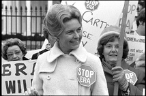 "Phyllis Schlafly, a conservative activist, organized opposition to the ERA and argued that it ""would lead to women being drafted by the military and to public unisex bathrooms""[128]"