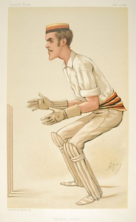 Etonian player Alfred Lyttelton also played first-class cricket, as depicted in this caricature published in Vanity Fair in 1884