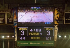 Scoreboard for a hockey game during the fourth period. If a game is tied at the end of the third period, several leagues and tournaments have teams play additional sudden death overtime periods.