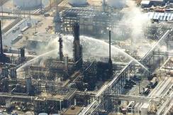Fire-extinguishing operations after the Texas City Refinery explosion.