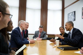 Corbyn and Hilary Benn meet with President Obama in April 2016.