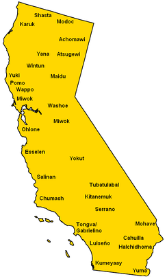 A map locating the main tribes native to California (before Europeans' arrival).