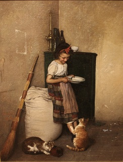 Child Feeding her Pets (1872) painting by Gaetano Chierici from the Widener University Alfred O. Deshong Collection
