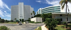 Collier County's main administration building, left, and the back end of the county courthouse, right.