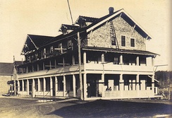 The Courtenay Hotel c 1880, centre of the old townsite on the east side of the Courtenay River, and regularly flooded by king tides and spring run-off