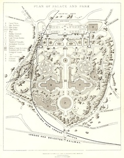 An 1857 plan of the grounds of The Crystal Palace