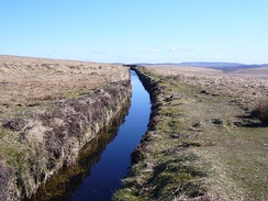 The Devonport Leat on Dartmoor looking up stream