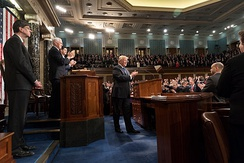 President Donald Trump delivers the 2018 State of the Union Address, with Vice President Mike Pence and Speaker of the House Paul Ryan