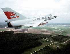 An F-106A of the 87th FIS above Charleston AFB, SC in 1982.