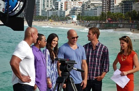 Picture of Fast 5 cast (From left) Dwayne Johnson, Ludacris, Jordana Brewster, Vin Diesel, and Walker with Natalie Morales for NBC's Today Show taken in April 2011.