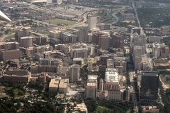 An aerial view of the Texas Medical Center