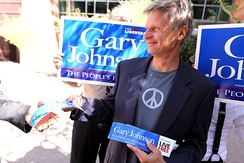 Johnson after a campaign rally in a photo shoot for Reason