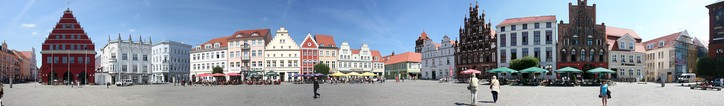 The central market square of Greifswald (Marktplatz), showing typical architecture of Mecklenburg-Vorpommern