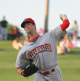 Hamels pitching for the Clearwater Threshers, advanced-A affiliates of the Phillies, in 2014