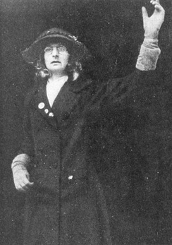 Lytton posing as Jane Warton, a London seamstress, at a protest in Liverpool (1910)