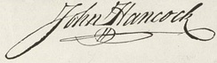 John Hancock's now-iconic signature on the Declaration is nearly 5 inches (13 cm) long.[21]