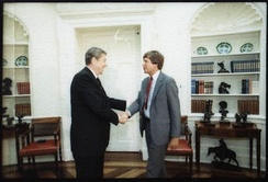 Kasich meeting with Ronald Reagan.
