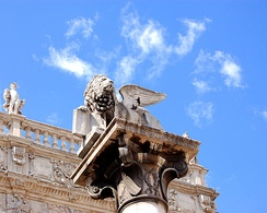 The Lion of Saint Mark, located in Piazza delle Erbe, symbol of Venetian Verona