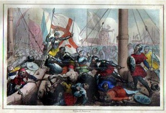 Lithograph of the Battle of Meloria by Armanino