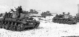 U.S. M46 Patton tanks, painted with tiger heads thought to demoralize Chinese forces