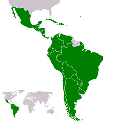 Latin American countries (green) in the Americas