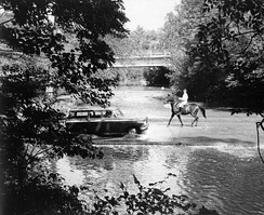 Crossing the Milkhouse ford through Rock Creek in 1960