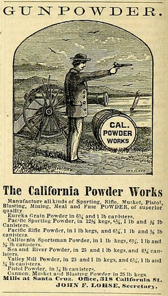 Advertisement from 1868 for the California Powder Works in Santa Cruz County, California.