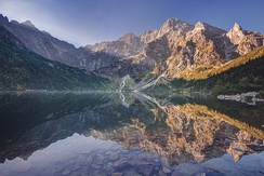 Morskie Oko at the foothill of Tatra Mountains in southern Poland which average 2,000 metres (6,600 ft) in elevation