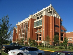 Memorial Stadium houses University of Oklahoma football games, as well as the campus bookstore.