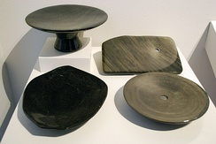 Obsidian worked into plates and other wares by Victor Lopez Pelcastre of Nopalillo, Epazoyucan, Hidalgo. On display at the Museo de Arte Popular, Mexico City.