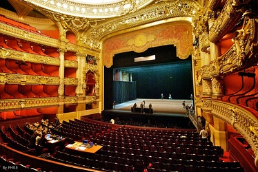 The interior of the Palais Garnier, showing the stage and auditorium.
