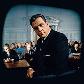 Raymond Burr and other cast members on the set of Perry Mason, from the front cover of Look magazine (October 10, 1961)