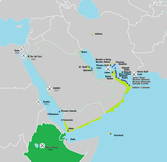 Portuguese in the Gulf of Oman. Light Green - Possesions and main cities.  Dark Green - Allieds or under influence. Yellow - Main factorys.