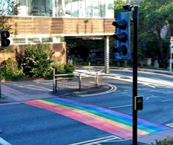 The Rainbow crossing in St Nicholas Way, Sutton
